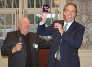 Mike McFadden, Candidate for U. S. Senate accepting our gift 'the coveted Ham & Eggs cup'